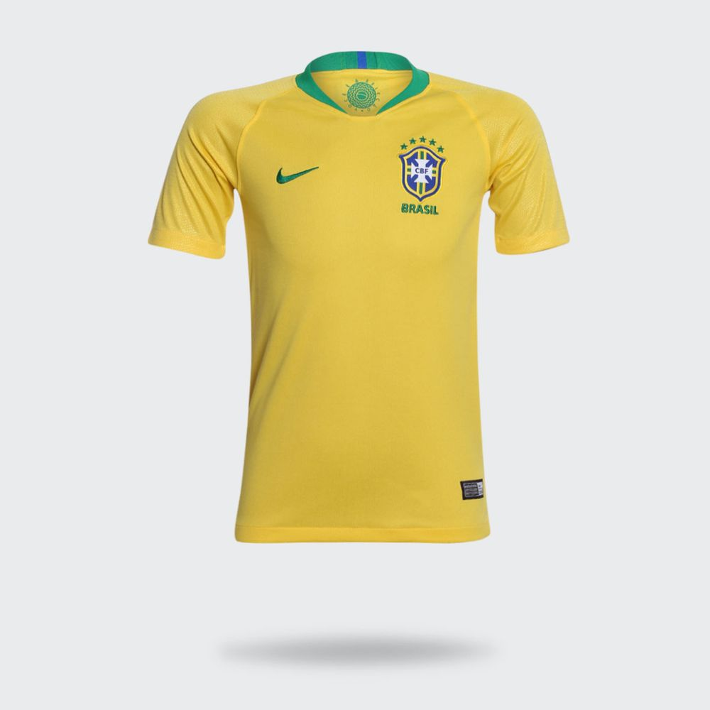 Camisa Nike Brasil 2018 2019 I Torcedor Amarela Infantil 61e4cbf25cc22