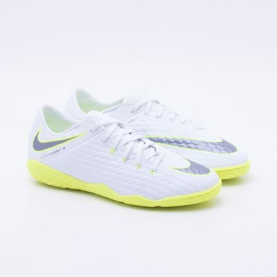 00d44c0b824ec Chuteira Futsal Nike Hypervenom Phantom 3 Academy IC Branco e Verde ...