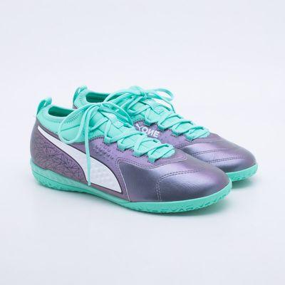 1d842f2259364 Chuteira Futsal Puma One 3 IL Lth BDP Cinza e Verde - Gaston ...