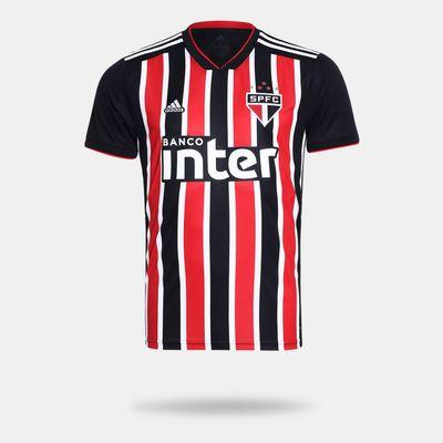 d918199a1 Camisa Adidas São Paulo II 2018 Preta Masculina Preto e Vermelho ...