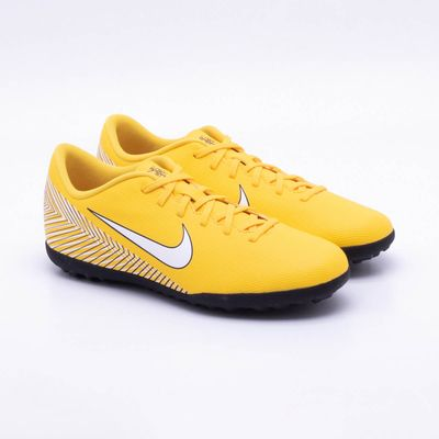 7f76ae5af4cb3 Chuteira Society Nike MercurialX Vapor XII Club Neymar TF Amarelo e ...