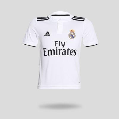 11be28064d1 Camisa Adidas Real Madrid I 2018 2019 Branca Infantil Branco e Preto ...