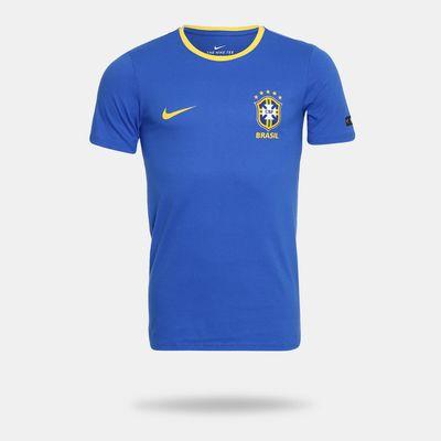 Camiseta Nike Brasil 2018 Tee Crest Azul Masculina Azul - Gaston ... 366d9a9e2d3