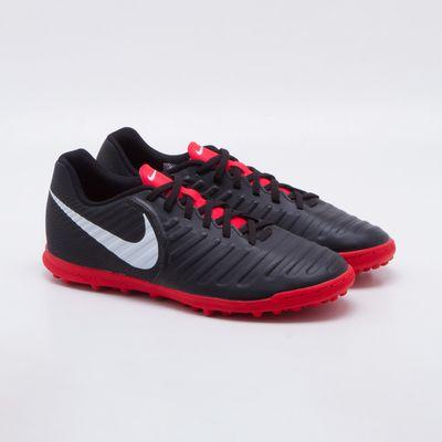 Chuteira Society Nike Tiempox Legend 7 Club TF Preto e Vermelho ... 18344f677f8d4