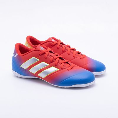 350eb577726f8 Chuteira Futsal Adidas Nemeziz Messi 18.4 IN Vermelho e Azul ...