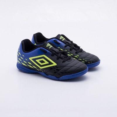 864640cfb3 Chuteira Futsal Umbro Fifty II Indoor Infantil Preto e Azul - Gaston ...