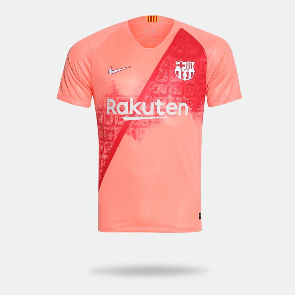 Camisa Nike Barcelona 2018 2019 III Torcedor Rosa Masculina 1885ead4f90