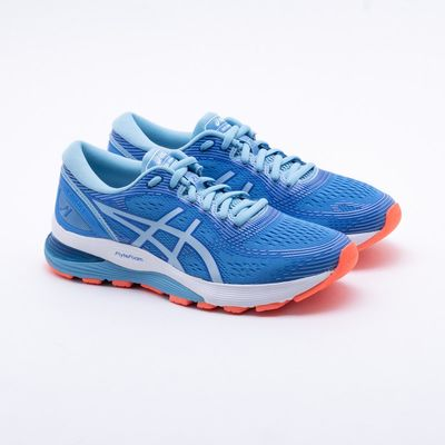 01eb12f02b Tênis Asics Gel Nimbus 21 Feminino Azul e Branco - Gaston - Paqueta ...