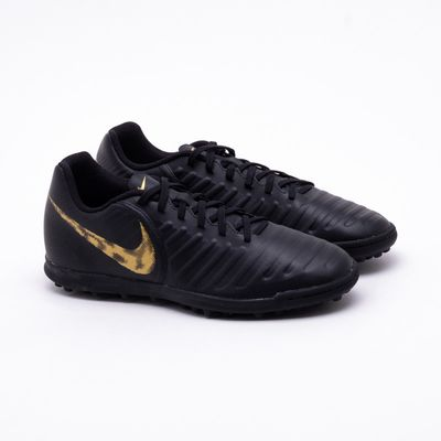 28fa354a5b Chuteira Society Nike Tiempo Legend 7 Club TF Preto e Dourado ...