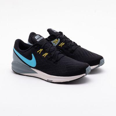 f8b8a73550e Tênis Nike Air Zoom Structure 22 Preto Masculino Preto e Azul ...